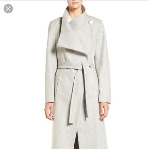 Gray trench coat and scarf